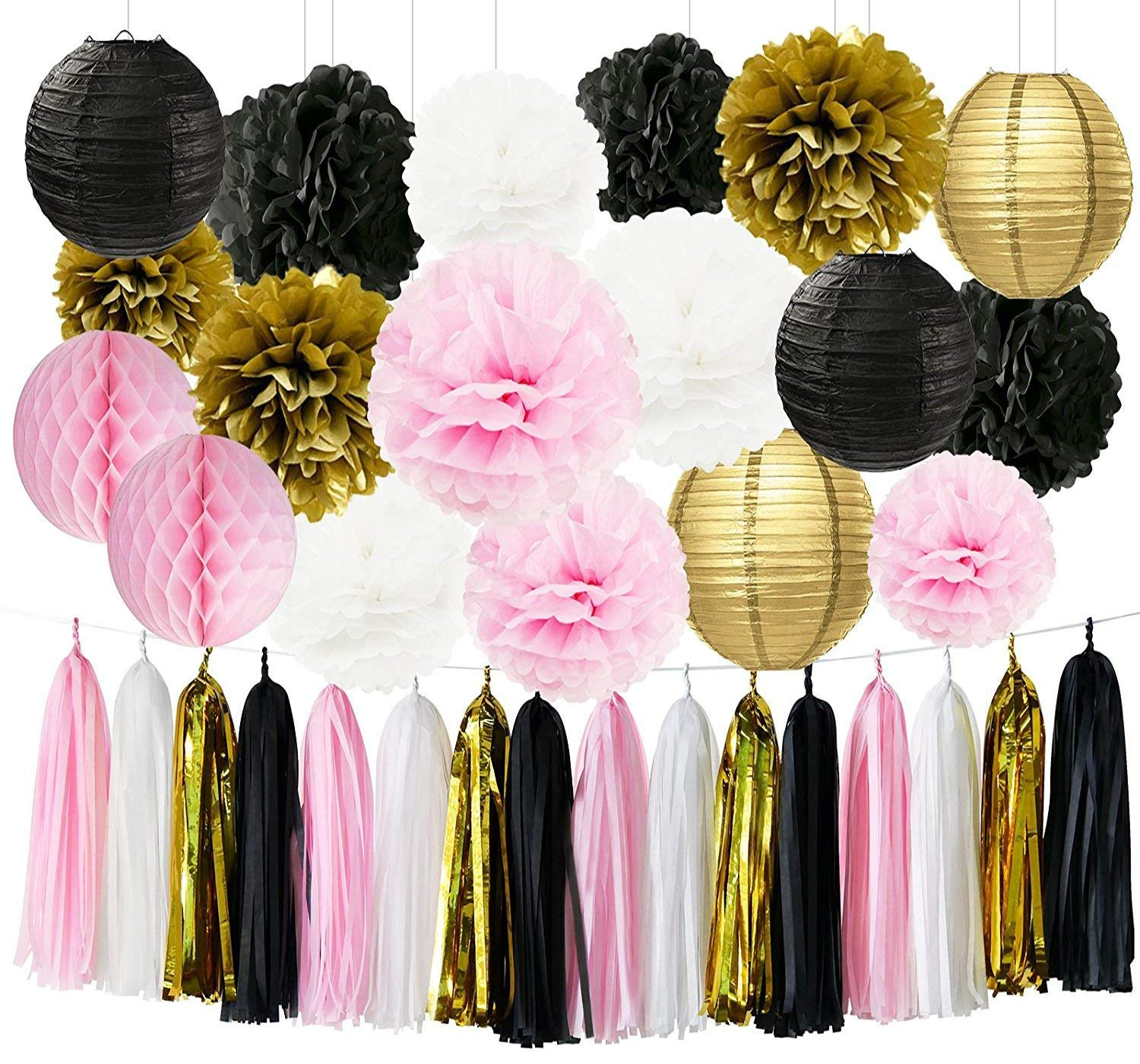 Baby Shower Decorations Pink Gold White Black Tissue Paper