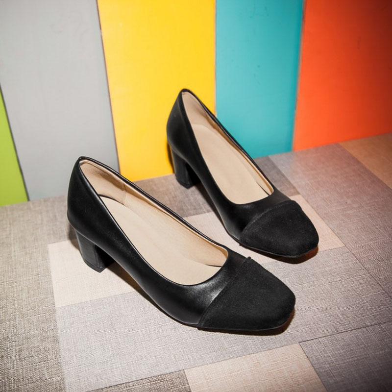 Women Leather Block Heel Pumps Wedding Dress Shoes Heel Girls