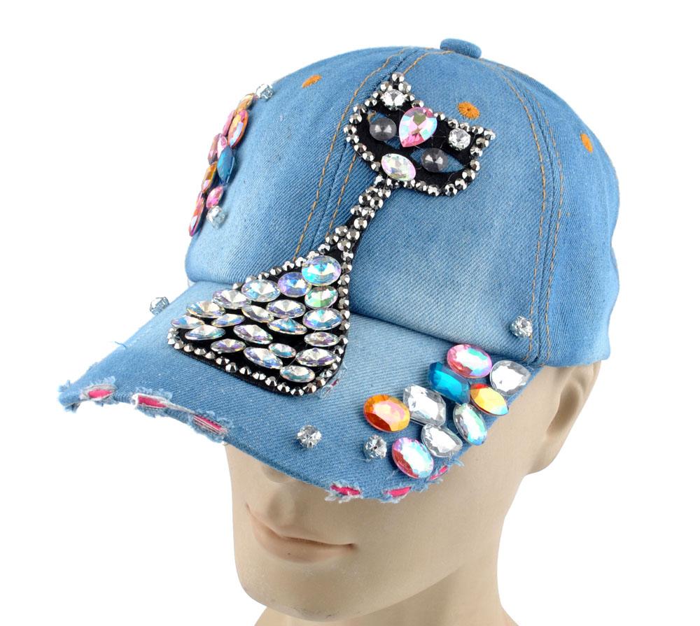 3786933eead Women Men s Rhinestone Crystal Studded Denim Hats Sparkle Bling Variety  Baseball Caps H02