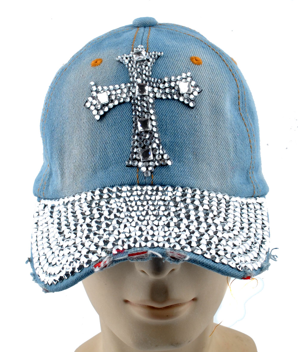 Womens Men S Cross Rhinestone Crystal Baseball Cap Bling