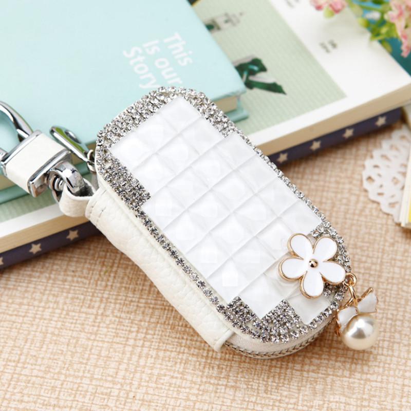 Camellia Diamond Car Key Bag Case Cover Keychain Holder for