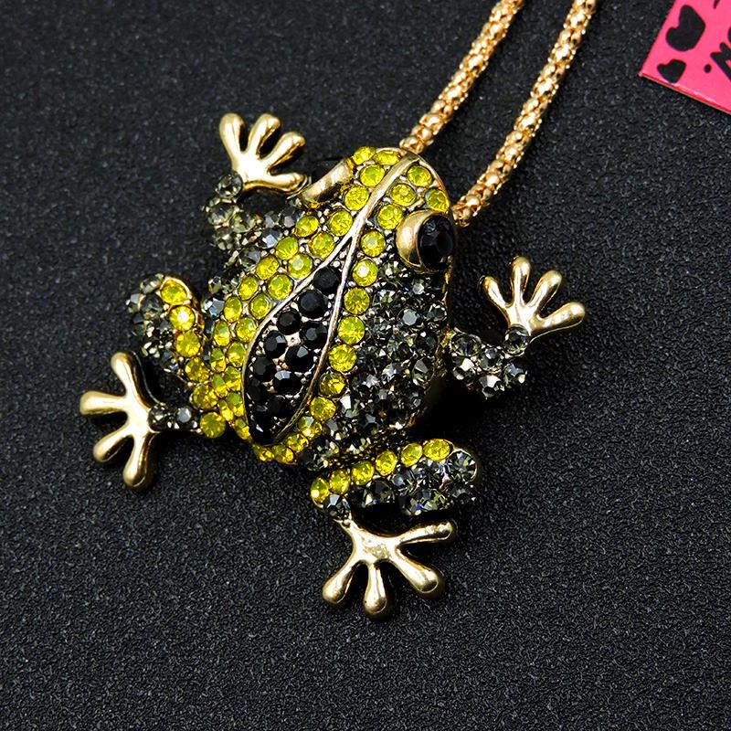 Pin By Crystal Johnson On Baldwin Hills Dam Break: Betsey Johnson Crystal Rhinestone Frog Charm Pendant Chain