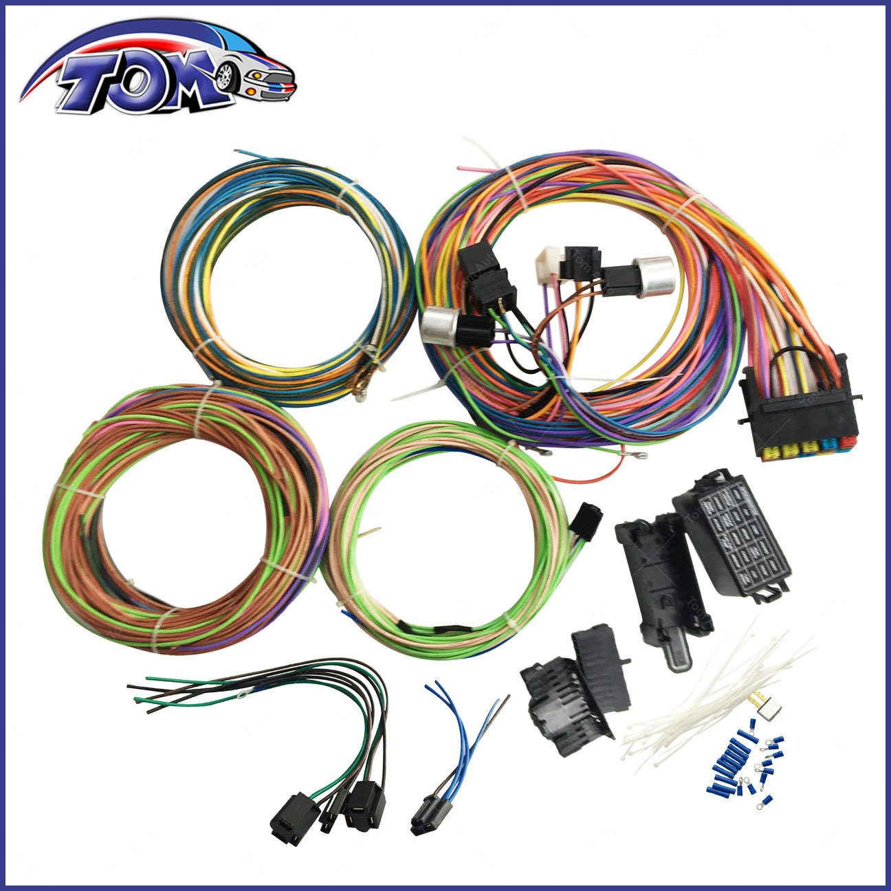 Details about 20 CIRCUIT WIRING HARNESS MINI FUSE CHEVY FORD HOTRODS on