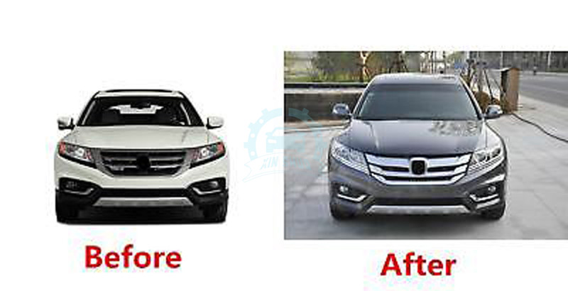 Plate Sliver Front Bumper Grille Grill Vent Cover For Honda Crosstour 2013-2015