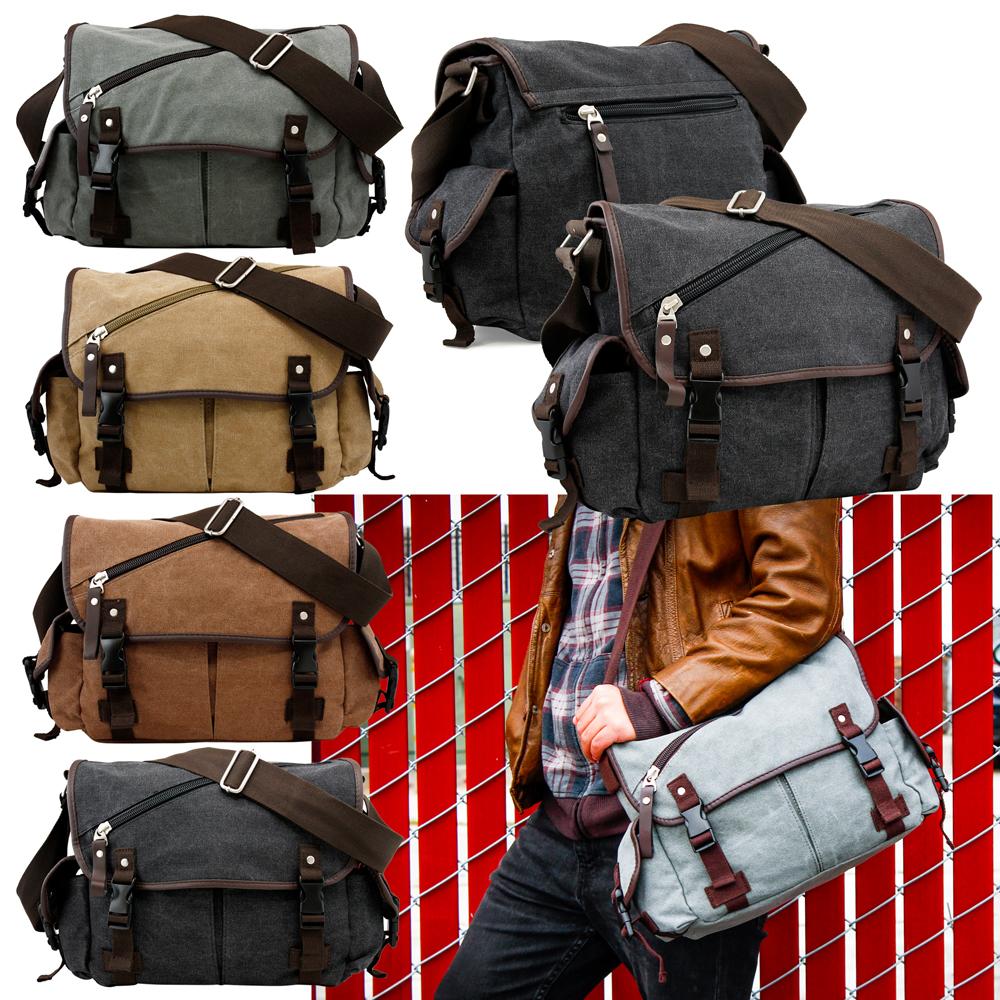 Messenger Bag School Shoulder Men S Vintage Crossbody Satchel Canvas Leather