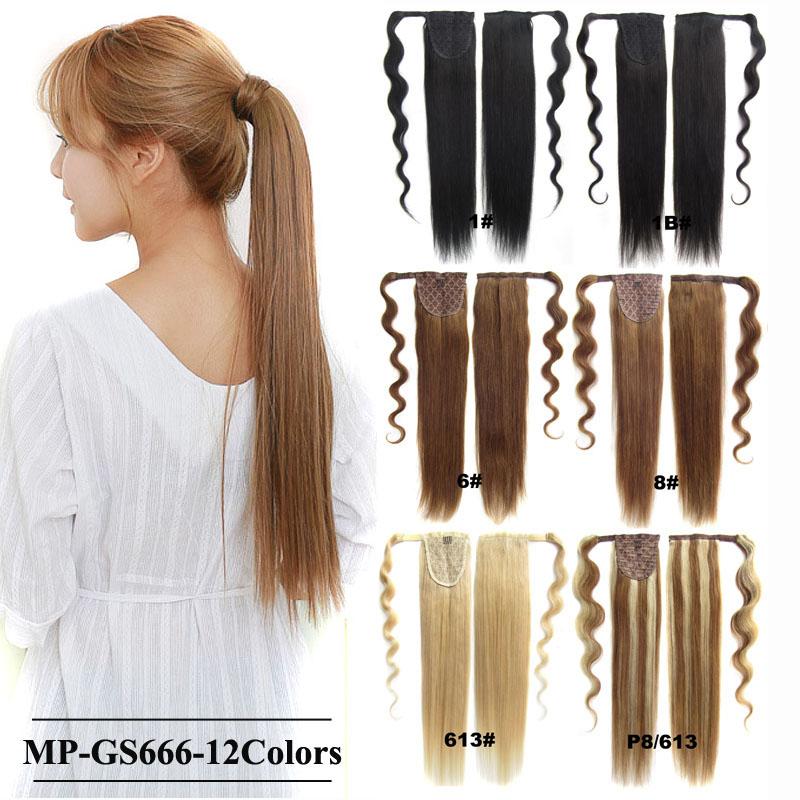 Straight Magic Hair Wrap Hairpiece Human Hair Ponytail Clip In Hair