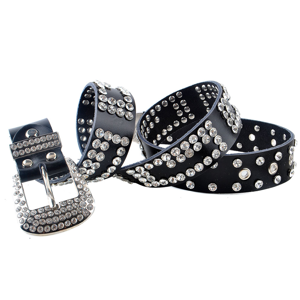 ce82b4127f9 Details about Elonmo Western Cowgirl Rhinestone Bling Womens Leather Belt  Size Suit for 28~44