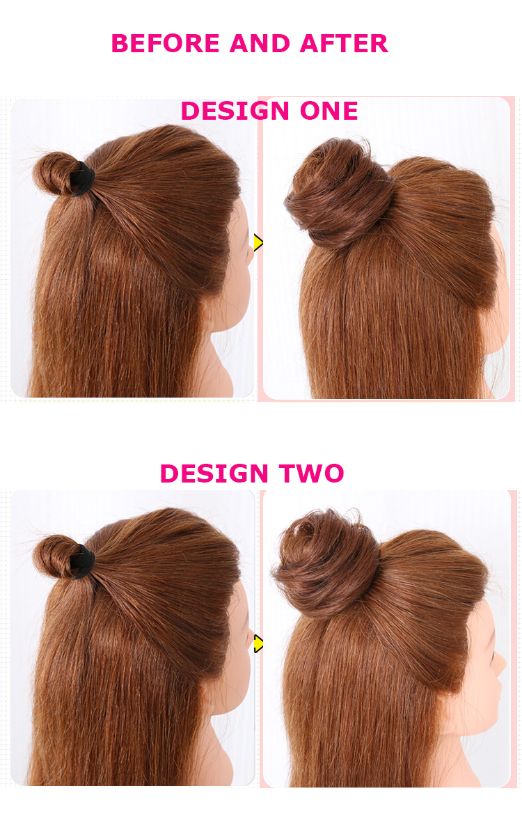 New Rubber Band In Straight Virgin Human Hair Buns Ponytail Messy