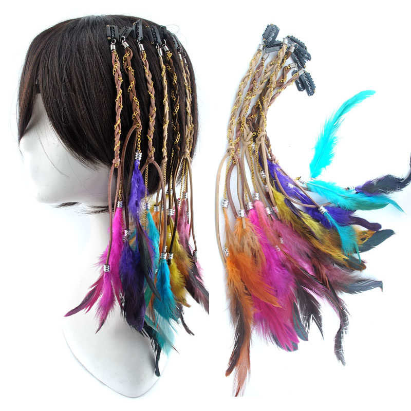 Cosplay Bohemia Colorful Dyed Chiken Feather Clip In Feather Hair