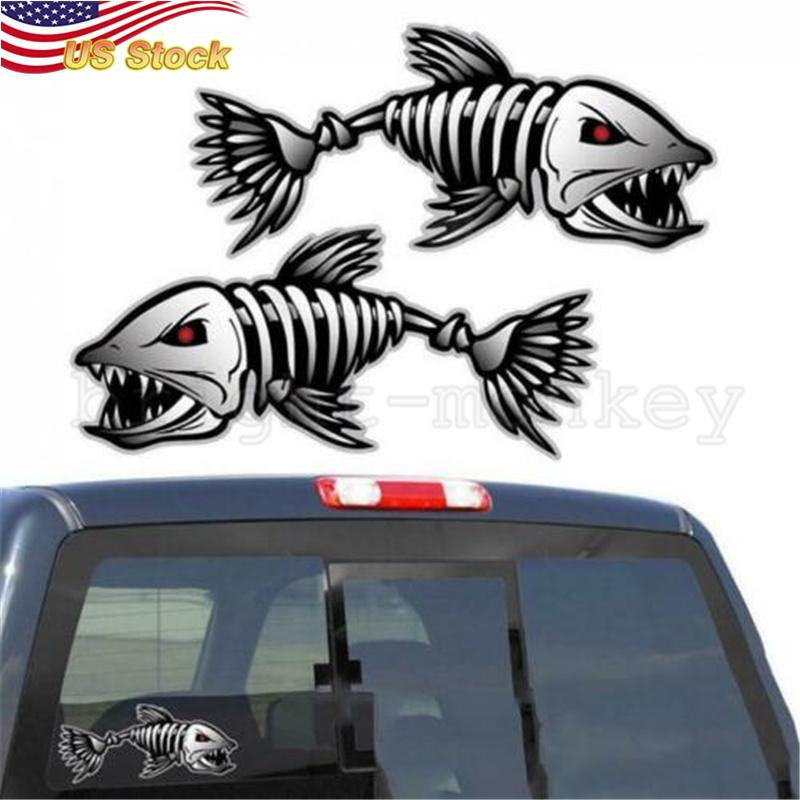 """2pcs 10/"""" Skeleton Fish Car Decals Kayak Boat Fishing Graphics Bones Sticker"""