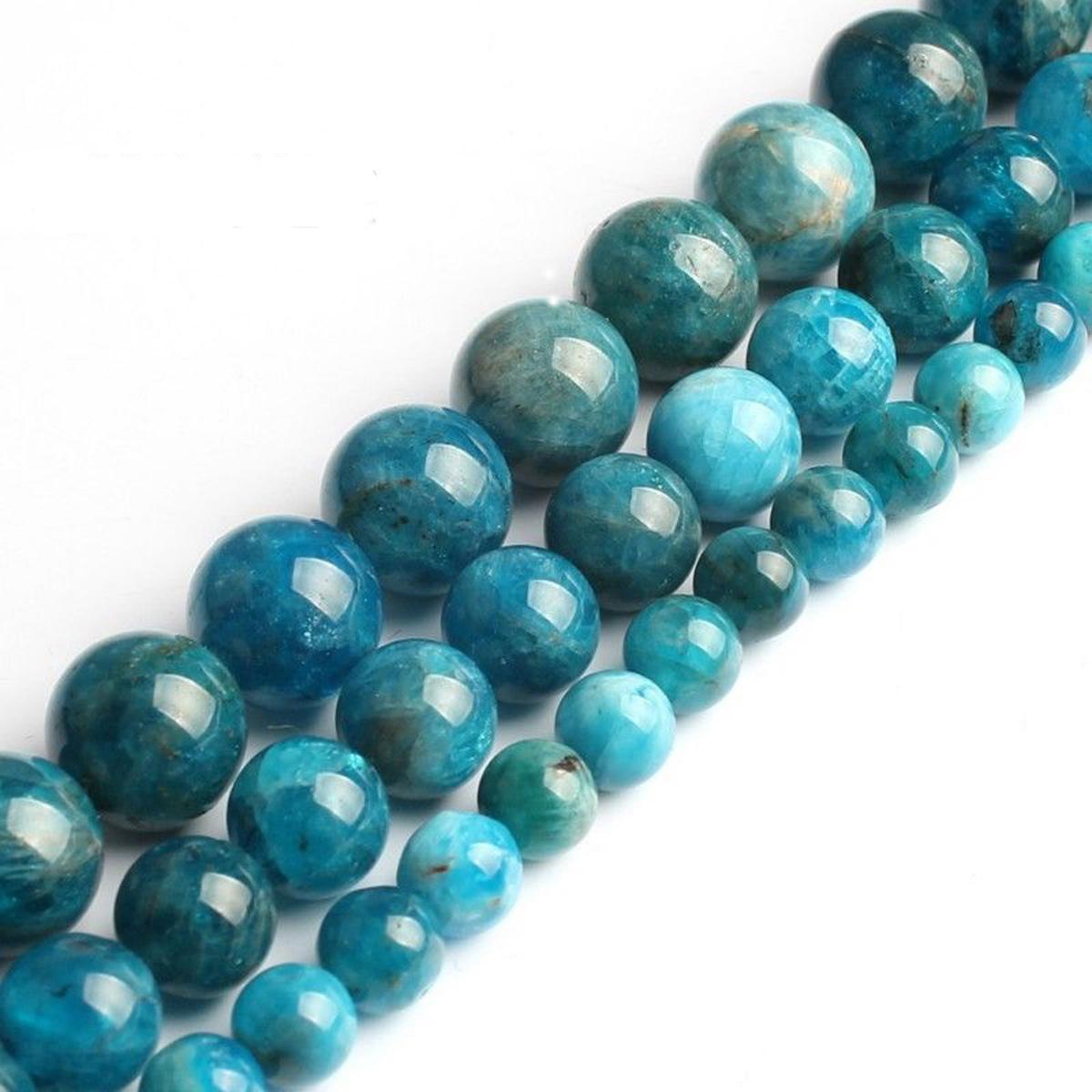 6-10mm Blue jade Gemstone Beautiful Round Loose Beads 15/'/'