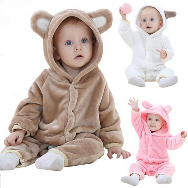 Newborn Baby Boy Warm Hooded Cute Romper Jumpsuit Suits Fluff Outfits Coat Gifts