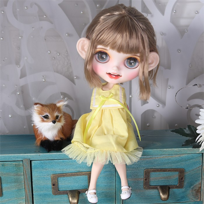 """12/"""" Blythe Nude Doll from Factory Flaxen Short Hair Eyebrow Smile Mouth+Teeth"""