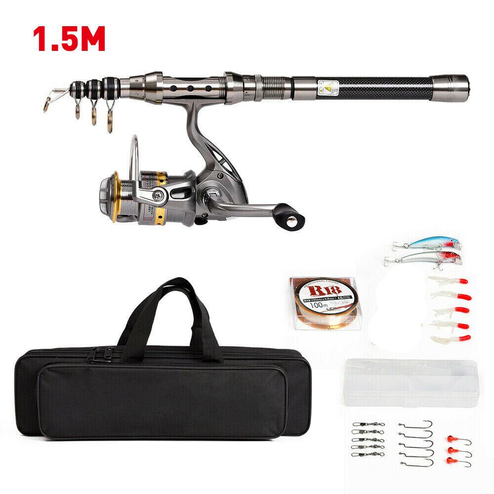 1.5M-2.4M Telescopic Fishing Rod Combo Set Gear Spinning Reel Line Lure Hook Bag