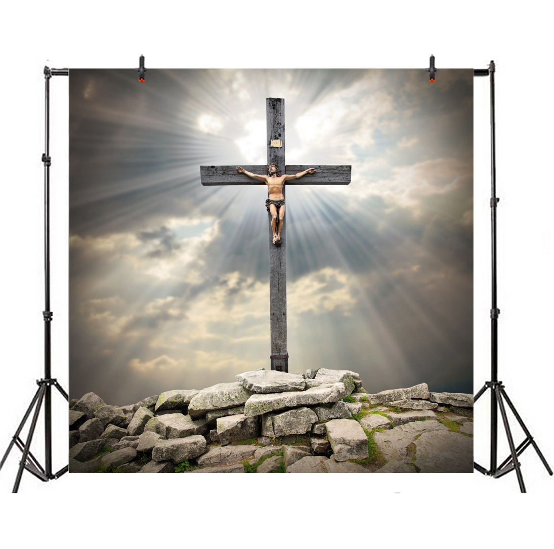 Fun Express Preprinted Backdrops Jesus With Cross Backdrop Banner for Easter Party Decor 3 Pieces Wall Decor Easter