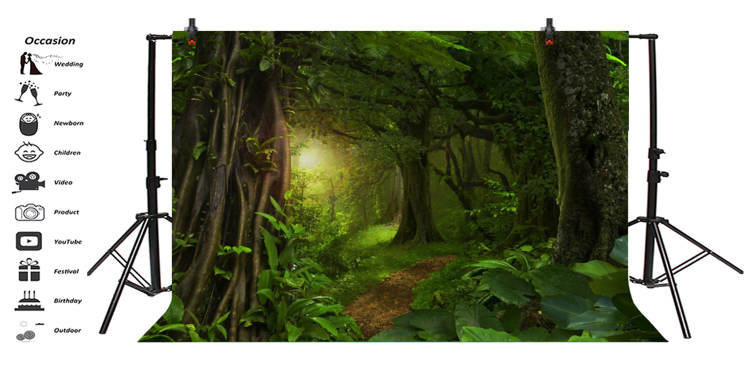 Jungle 10x15 FT Backdrop Photographers,Rainforest in Thailand Foliage Greenery Wooden Pathway Trekking Primeval Ancient Background for Photography Kids Adult Photo Booth Video Shoot Vinyl Studio Props