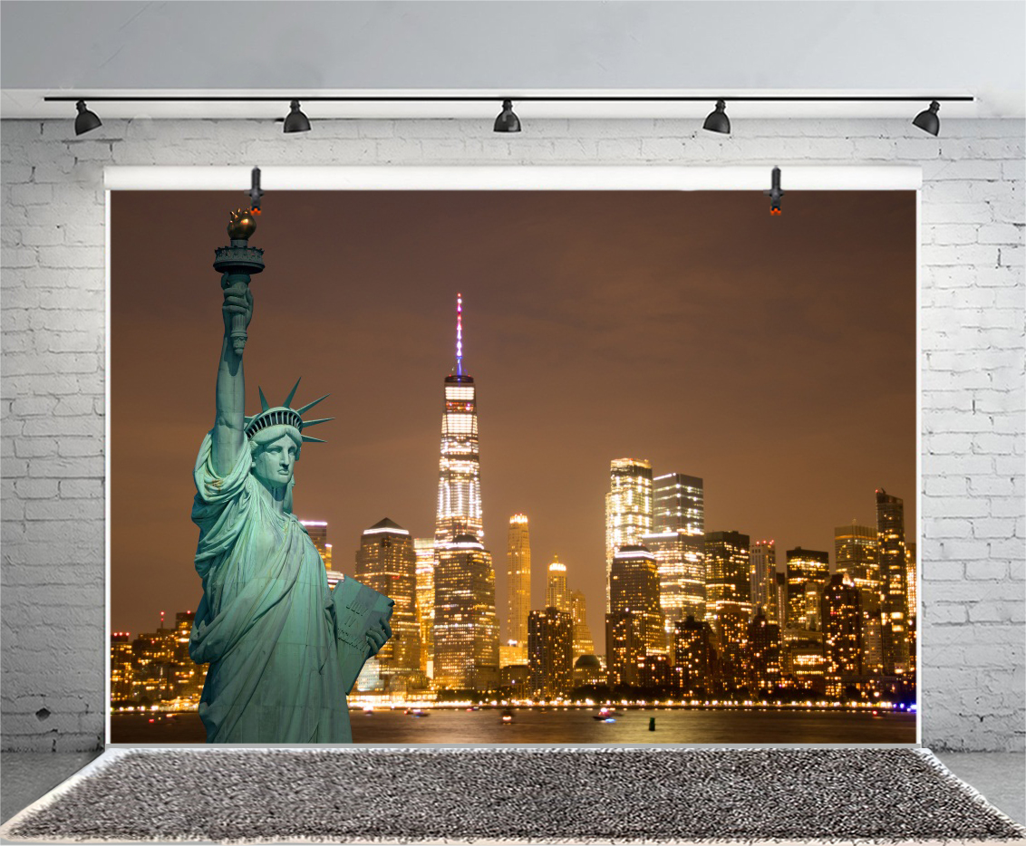 6x6FT Vinyl Photography Backdrop,American,Downtown New York Building Photoshoot Props Photo Background Studio Prop