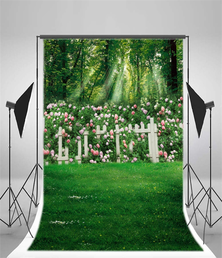 5x7ft Lawn Grass Flowers Tree Balloon Photography Background Computer-Printed Vinyl Backdrops