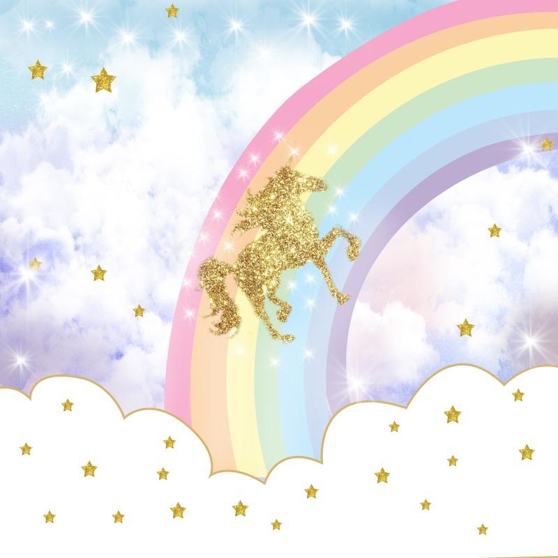 6x6ft Rainbow Glitter Unicorn Photo Backgrounds Baby ...