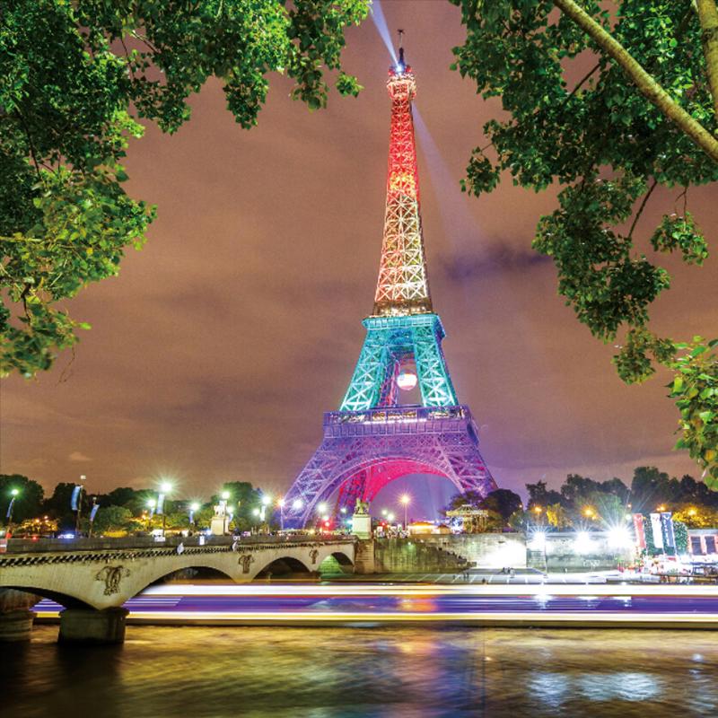 Paris Eiffel Tower Night Scene Photography Background 5x5ft