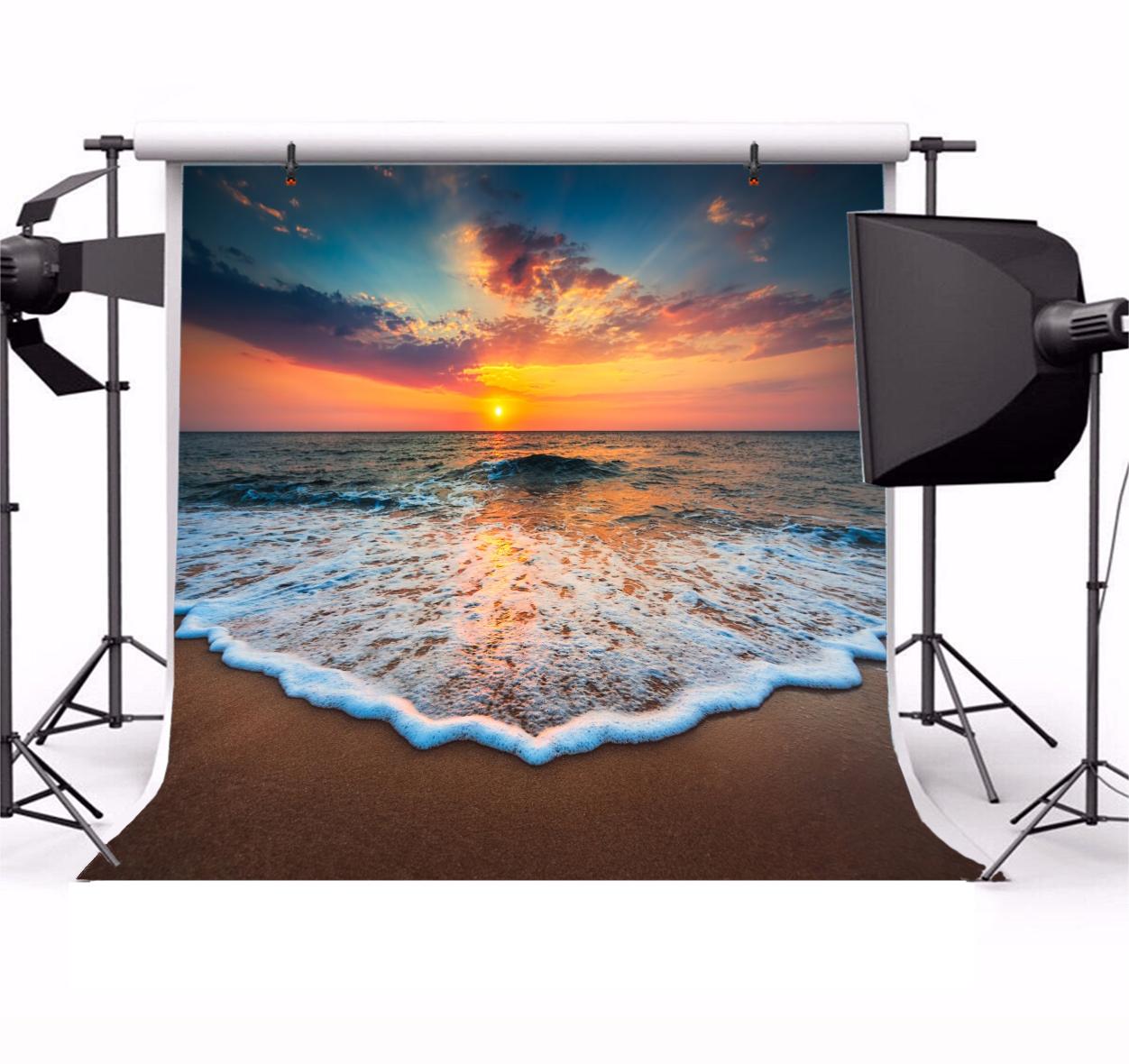 8x8FT Vinyl Wall Photography Backdrop,Beach,Sunrise Horizon Calm Waves Photo Backdrop Baby Newborn Photo Studio Props