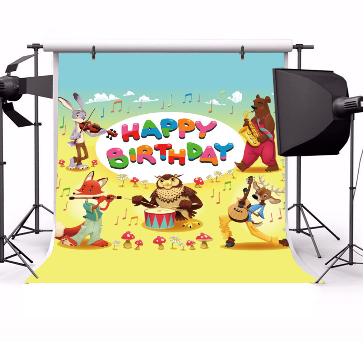 Details About Happy Birthday Card Musician Animals Photo Backdrop 8x8ft Background Studio Prop
