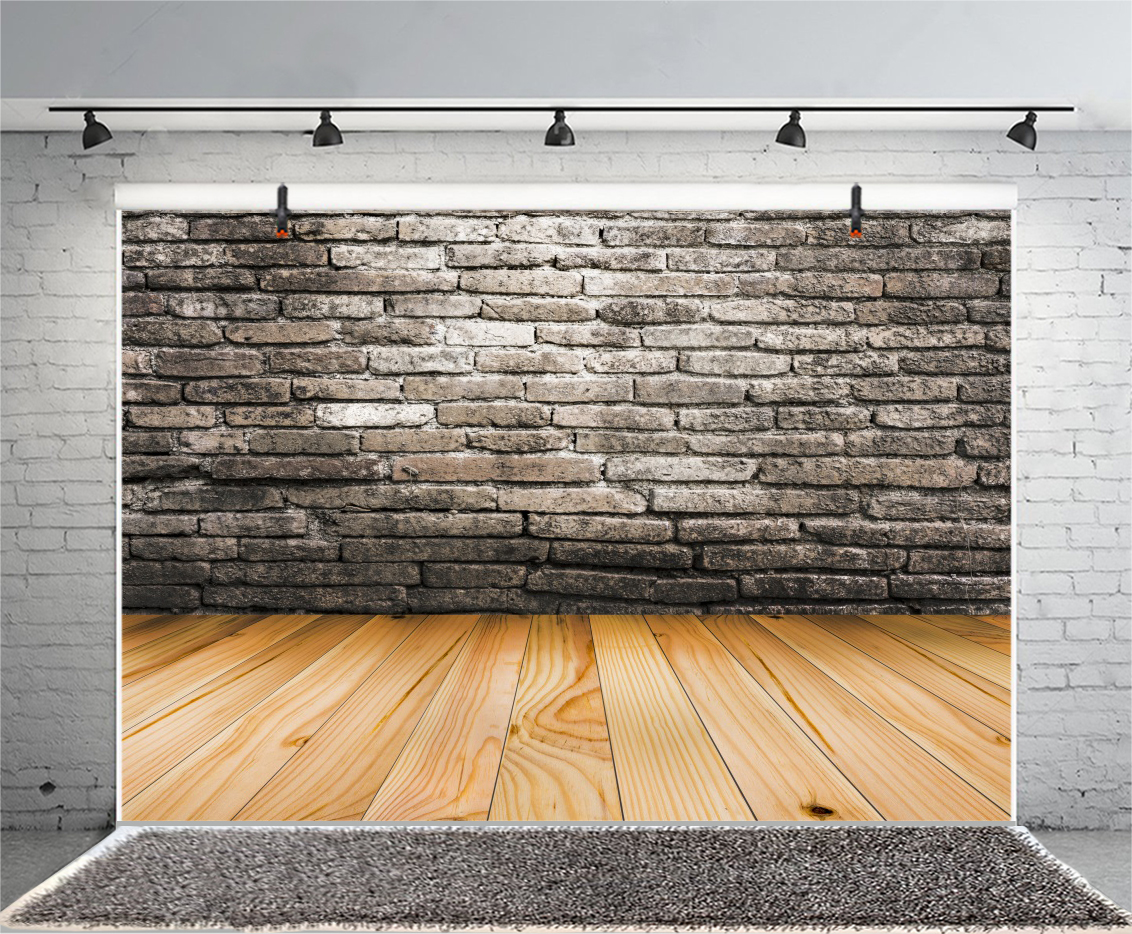 Maple Wood Floor Old Brick Wall Photography Props Backdrop 10x65ft Background