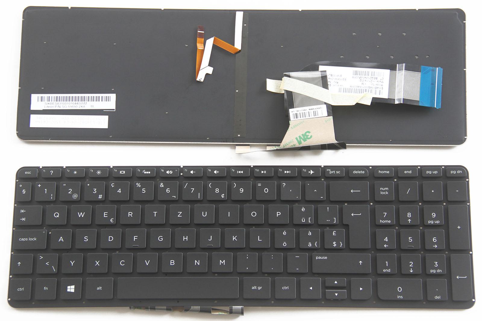 For HP Pavilion 15-p 17-f 15-k000 17-k000 m7-k Keyboard Swiss German CH Backlit
