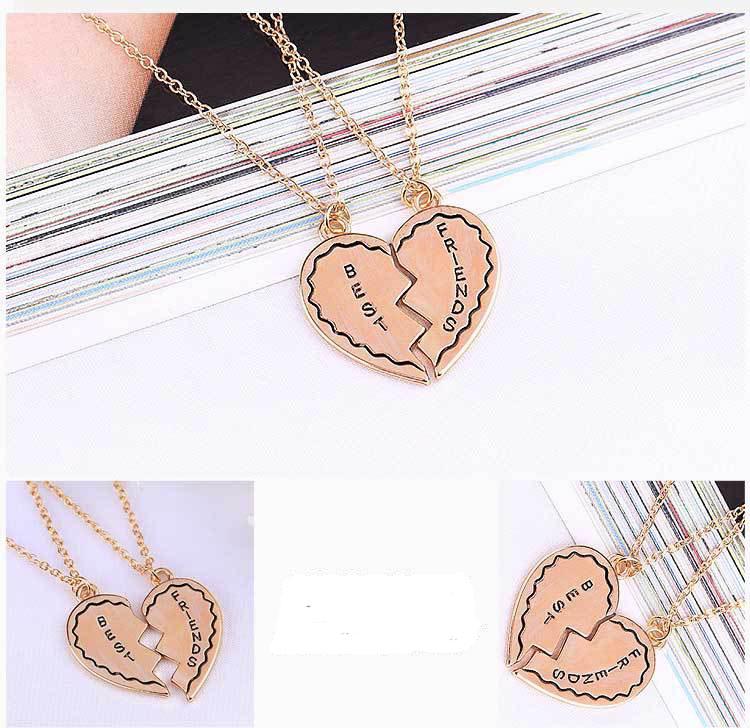 US Seller 2pc Rose Gold Best Friend Break Heart Friendship Pendant Necklace
