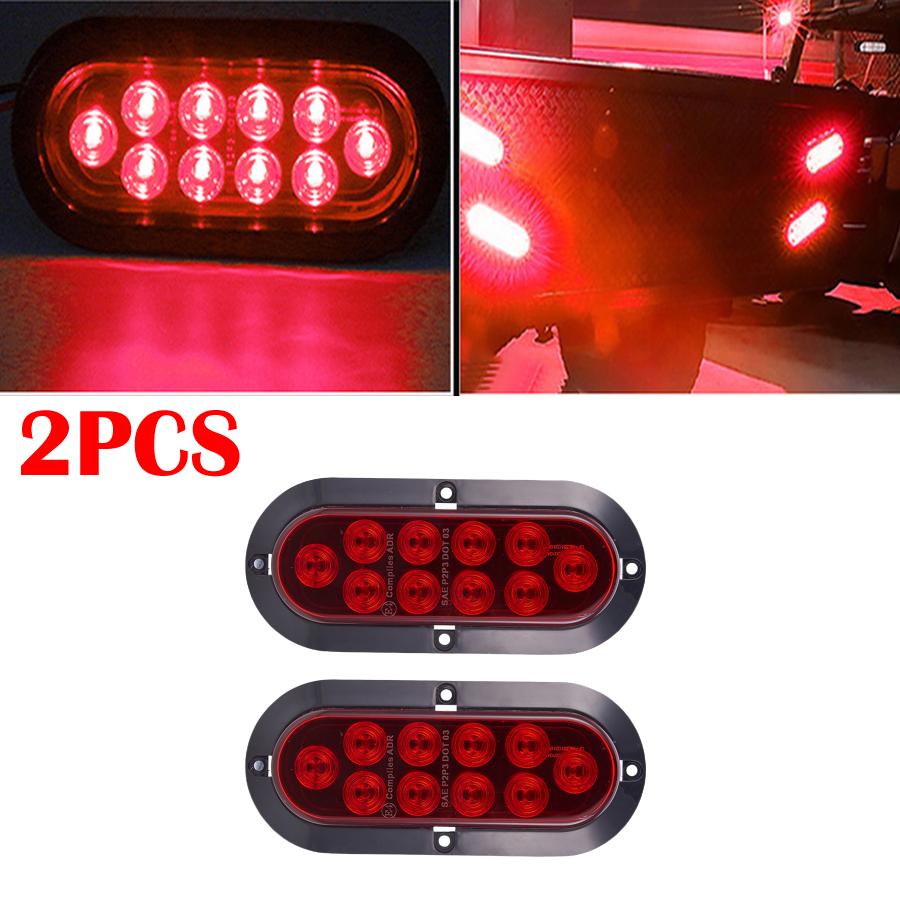 Car Truck Trailer Rear Led 10LED Amber Red Tail Turn Indicator Stop Brake Light