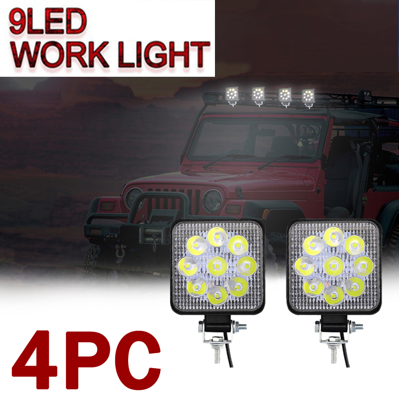 4pcs 27W led work light Square Flood Beam For Jeep Truck Boat Offroad CAR UTE
