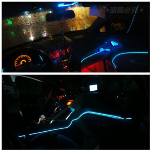 2M ICE BLUE EL Wire Car Interior Dec Fluorescent Neon Cold Strip Light Fit  Benz