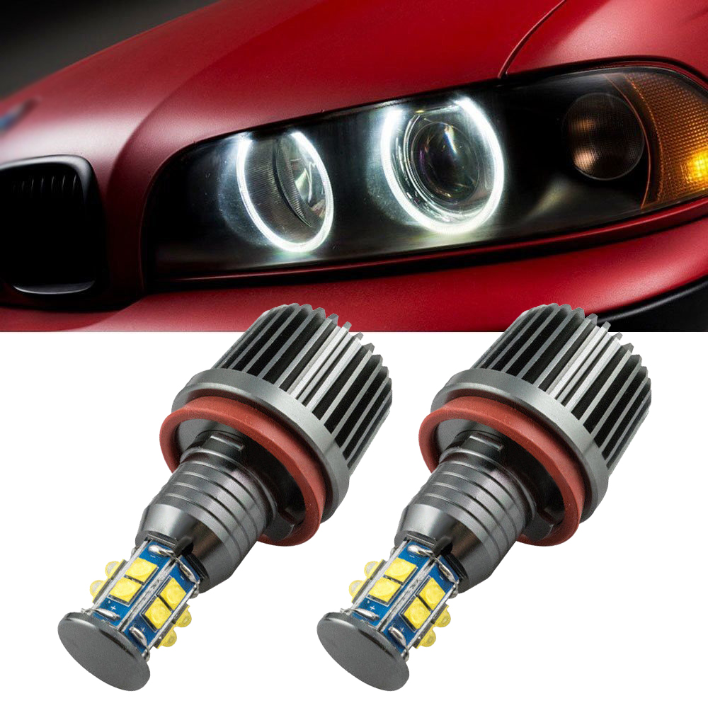 2X NEW 80W H8 LED Angel Eyes Halo Ring Light Bulbs HID Xenon White For BMW
