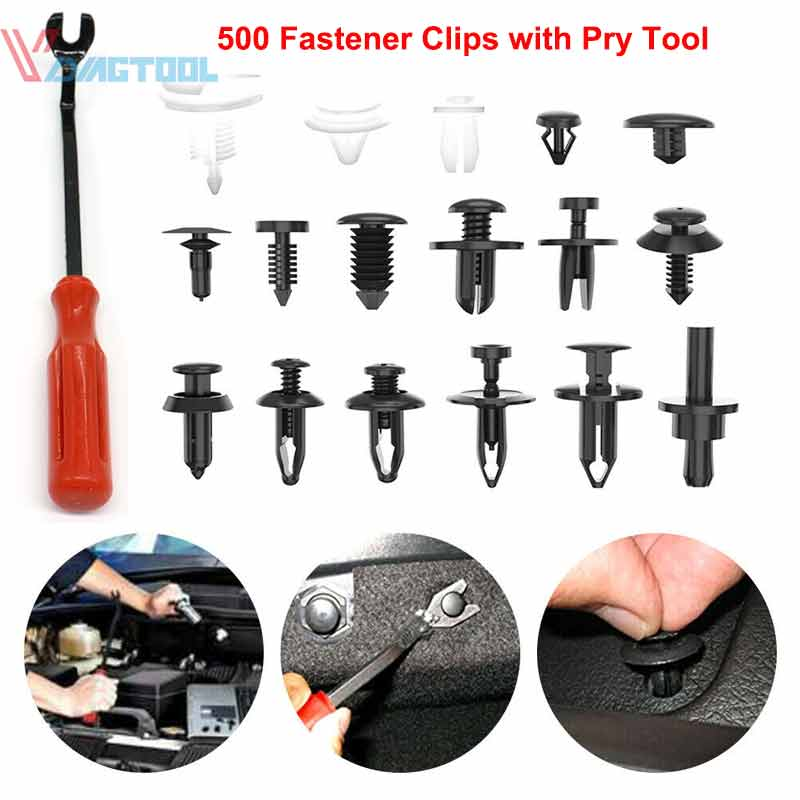 500Pcs Auto Car Fastener Clip Bumper Fender Trim Rivet Door Panel Removal Tool