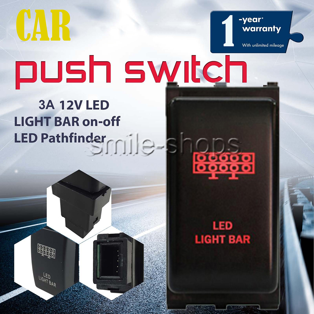 Push Switch LED LIGHT BAR 12V 3A Red LED Car For Nissan Pathfinder on//off