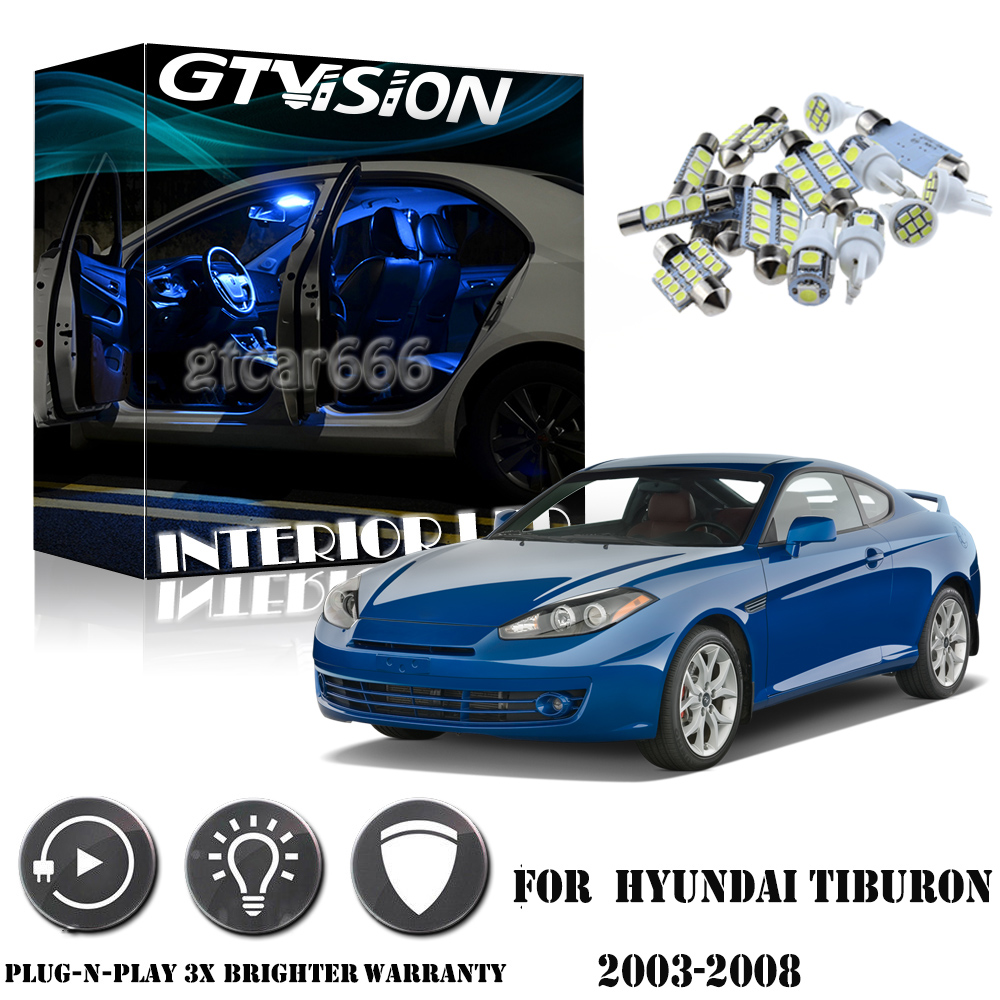 Details About 6pcs Bright Blue Interior Led Lights Package Kit For 2003 2008 Hyundai Tiburon