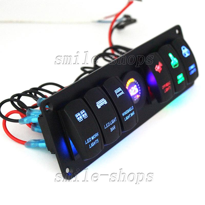 6 Gang Rocker Switch Panel Circuit Breaker Led Voltmeter