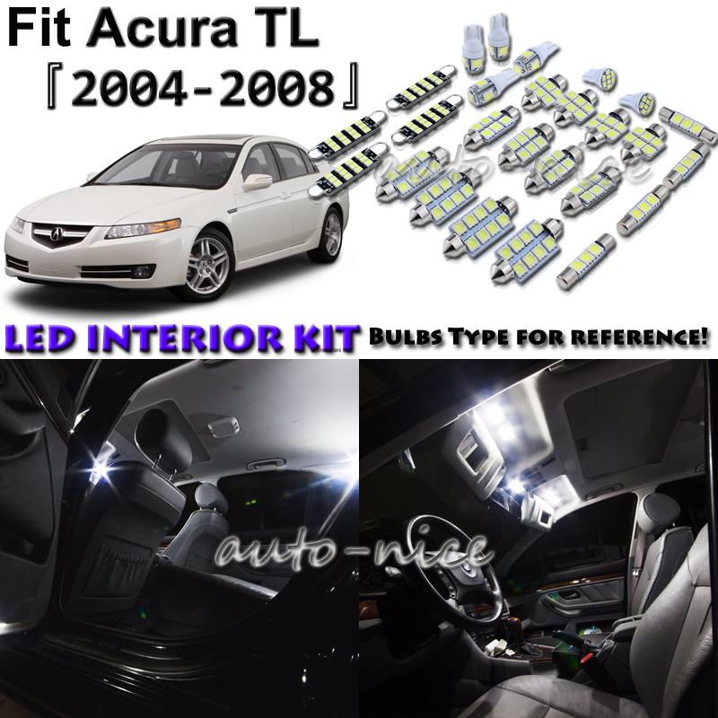 For Acura TL 2004-2008 Blue LED Interior Lights Kit License Plate Light 11pcs