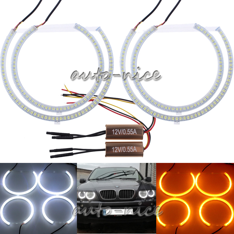 LED Angel Eye Halo Rings Kit SMD White Yellow For BMW E53 X5 1999-2004 Headlight