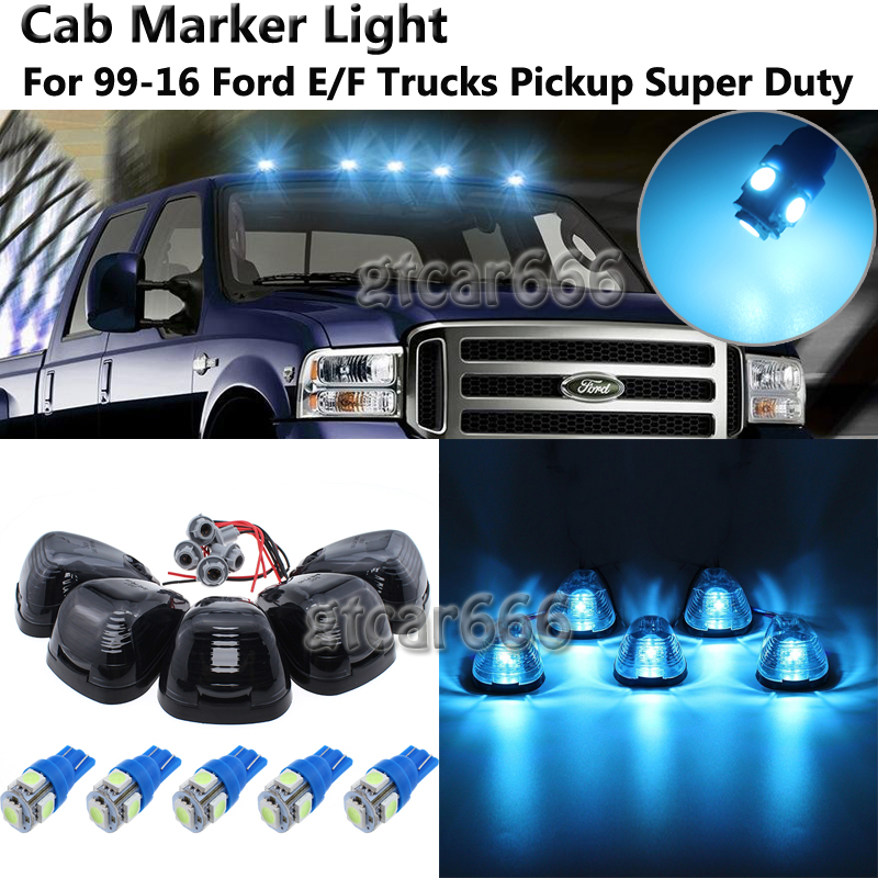 Partsam 5X Clear Cover Roof Running Cab Marker Light+Base Compatible with Ford F150 F250 F350 1999-2016 Super Duty Pickup Trucks