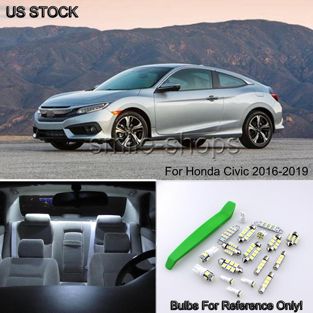 16pcs Interior LED Lights Package Kit White for 2013-2017 Honda Accord 12V