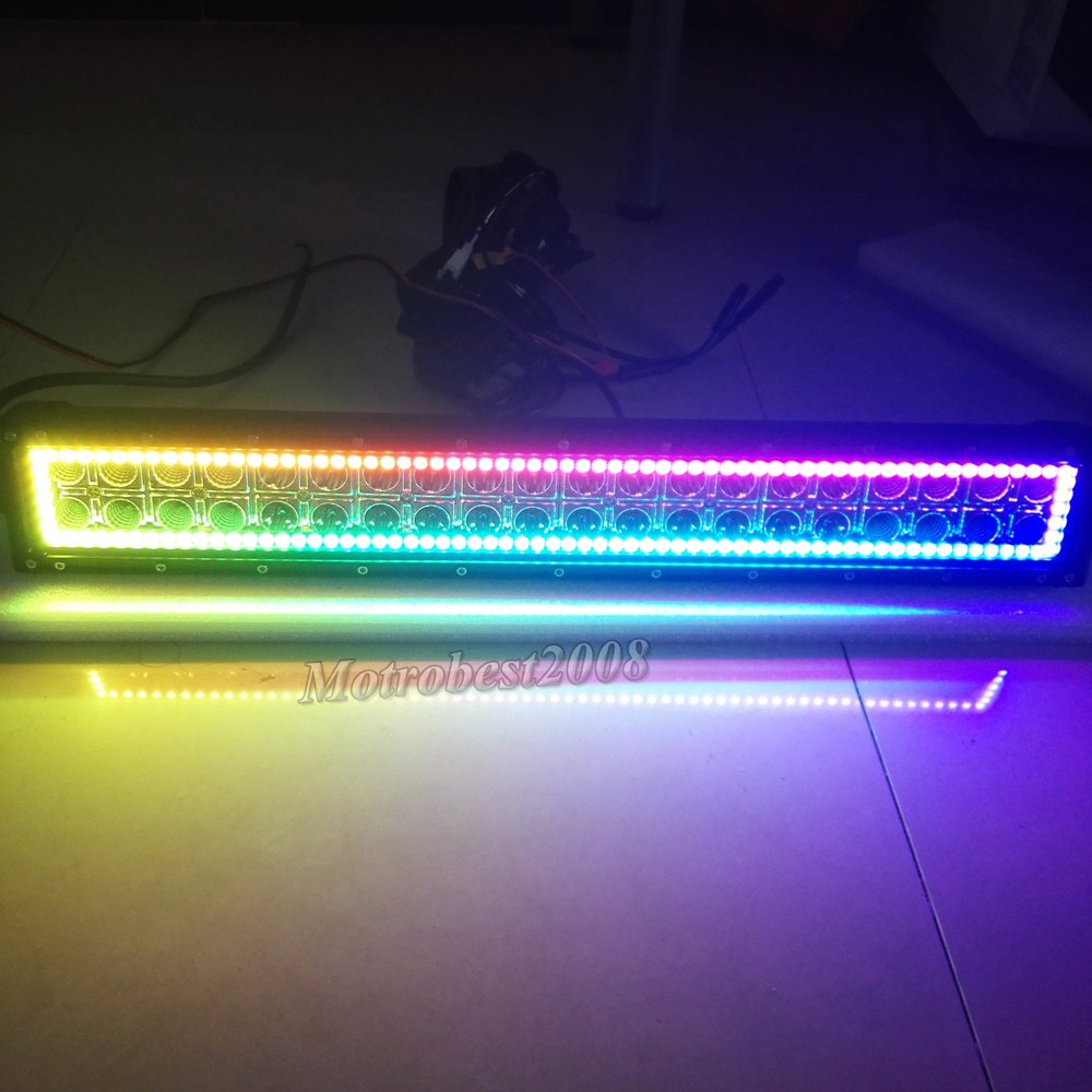 20inch 4d Cree Led Light Bar 4 Pods W Rgb Halo Ring Chasing 50 Inch Wiring Harness Free Download 50inch Straight With Bluetooth Connection App Control If You Want Them Please Kindly Go To Our Store Buy Itthanks