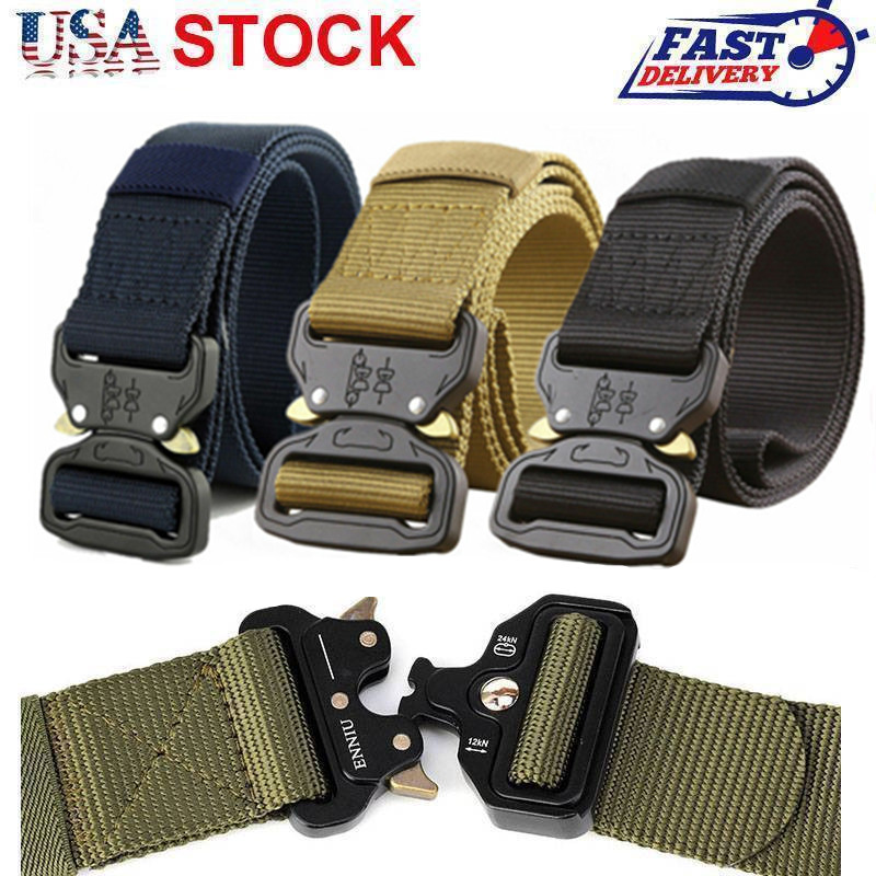 Adjustable USA Mens Military Belt Buckle Combat Waistband Tactical Rescue Tool