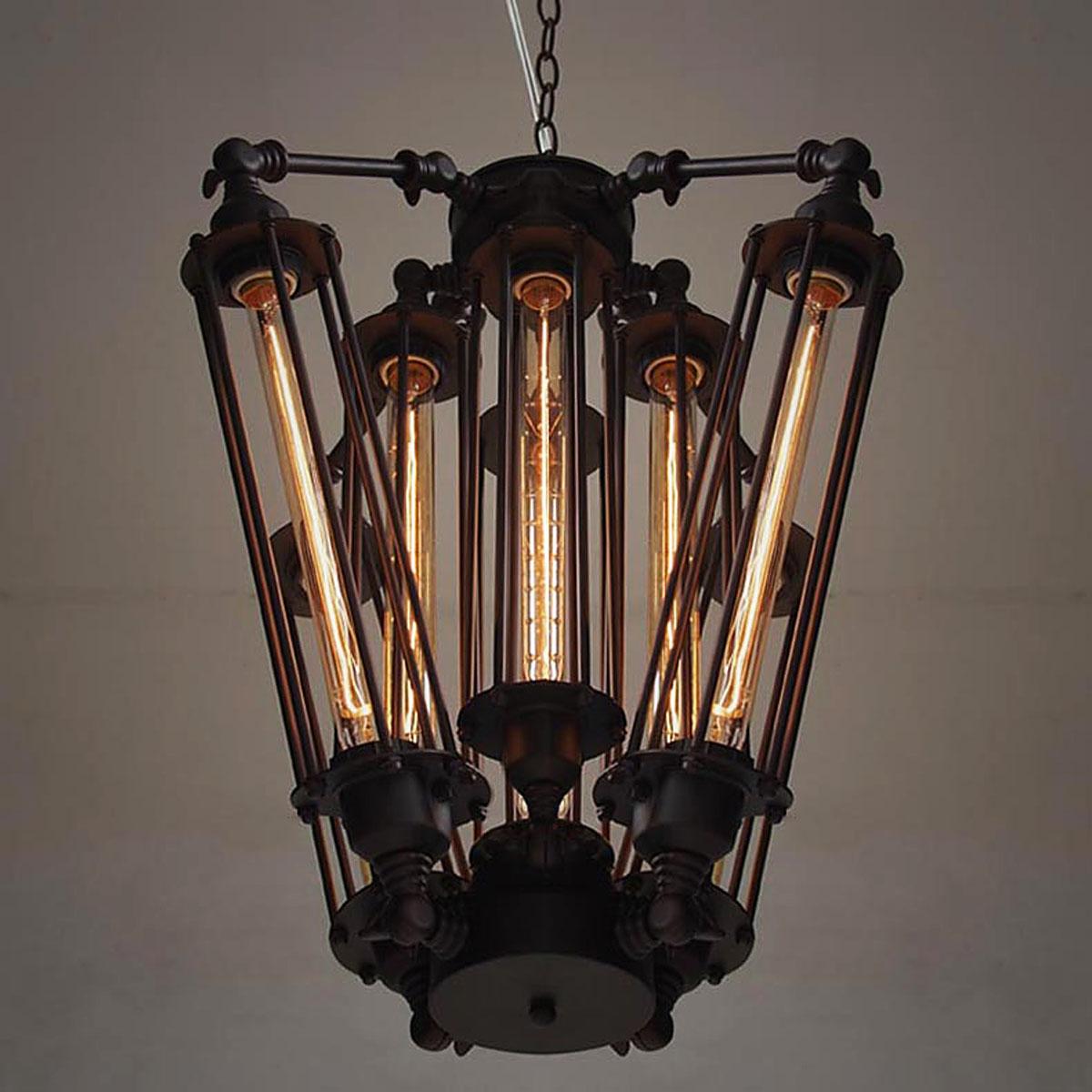 Vintage Industrial Metal Steampunk Chandelier Edison Bulb
