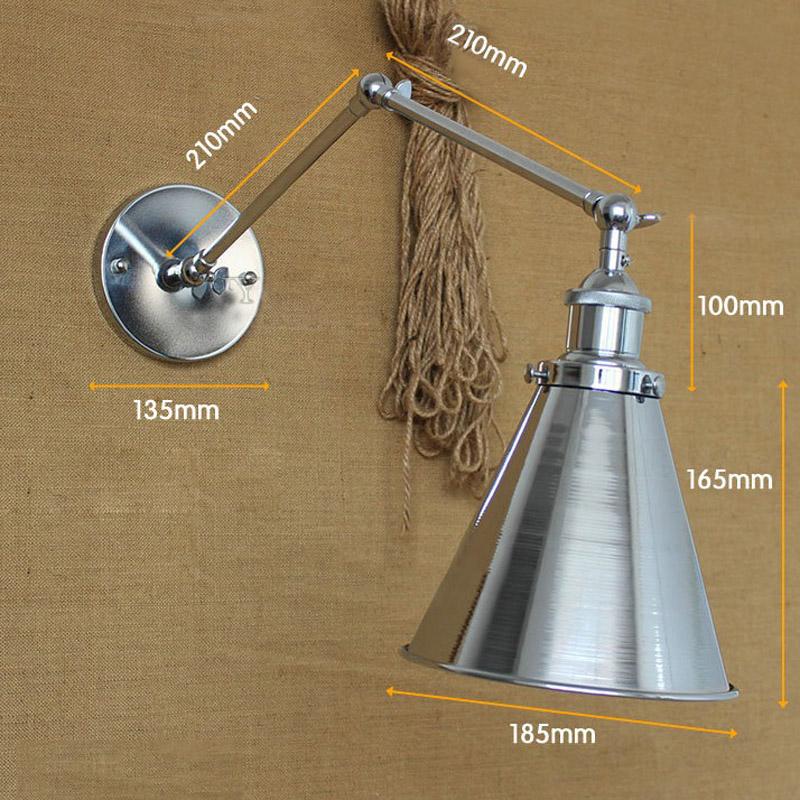 New Vintage Industrial Swing Arm Wall Lamp DIY Adjustable