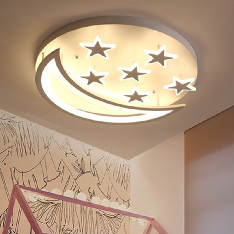 Details About Acrylic Star Moon LED Ceiling Light Fixture Kids Room Lamp  Bedroom Light