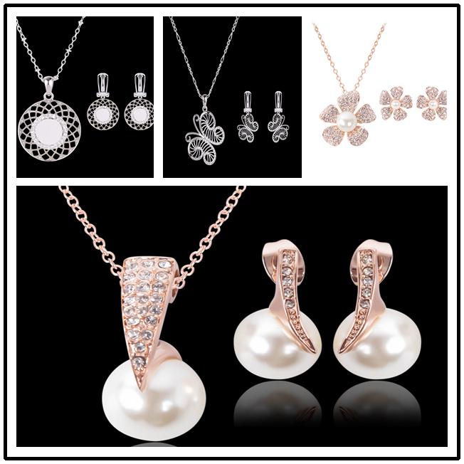 14k Gold Filled Black Austrian Crystal Necklace Bracelet Earrings Set  AU SELLER