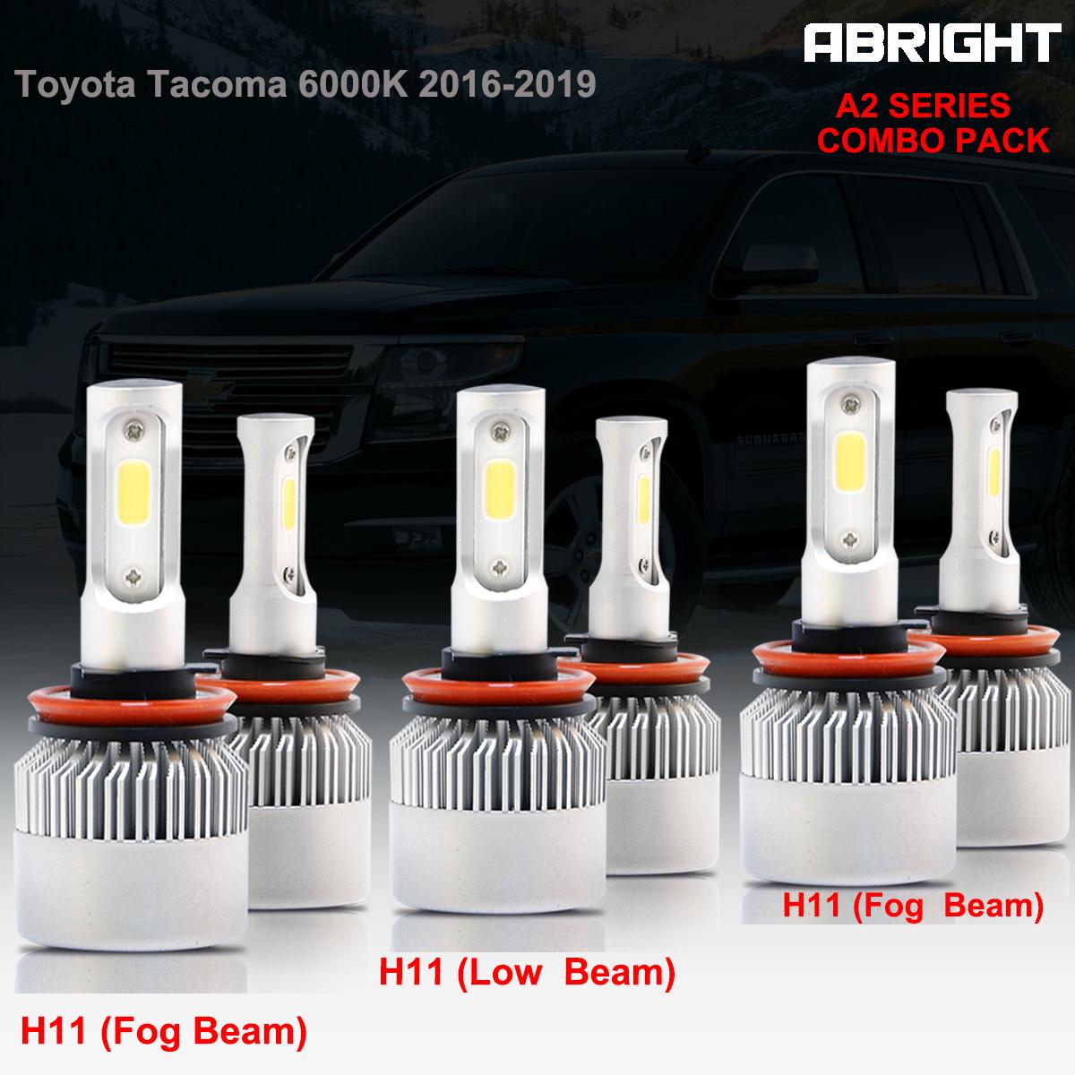 Combo H11 H8 H9 LED Headlight+Fog Light for 2016-2017 Toyota Tacoma 6000K White
