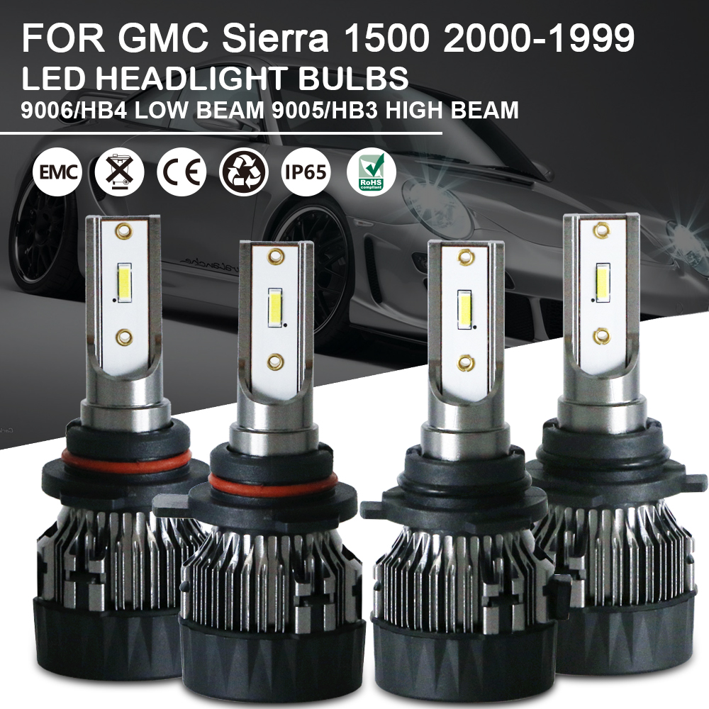 4p High & Low Beam LED Headlight Bulbs 9005 9006 For GMC