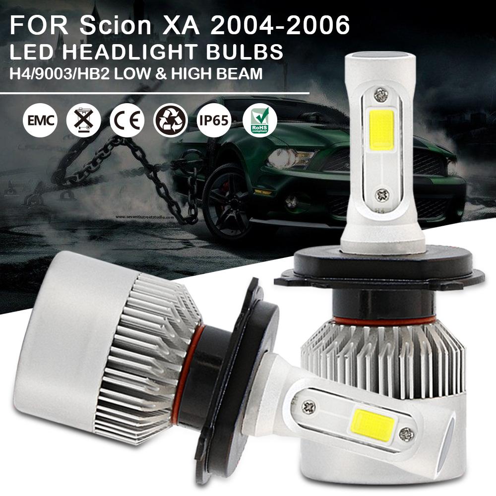 H4 9003 LED Headlight Bulbs Combo High Low Beam For Scion